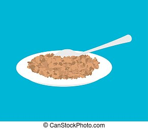 Lentil Porridge in plate and spoon isolated. Healthy food for breakfast. Vector illustration