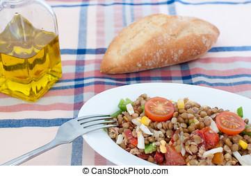 Lentil Salad - Lentil salad with boiled egg and pepper