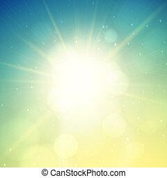 lentille, été, arrière-plan soleil, flamme