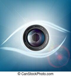 lentille, appareil photo, forme humaine, eye.