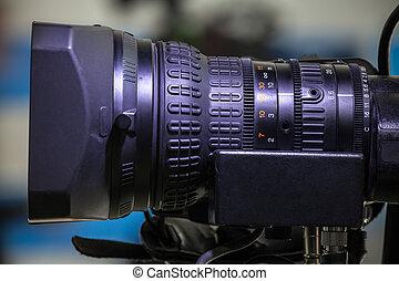lentille, caméra télévision, studio