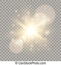 lentille, doré, flamme, effet, lumière