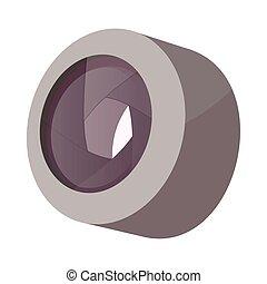 lentille, icône, style, appareil photo, dessin animé
