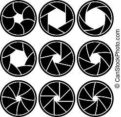 lentille, isolé, formes, arrière-plan., vecteur, ouverture, blanc, lames