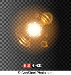 lentille, lumière, scintillements, effet, flamme