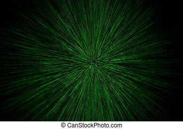 lentille, noir, explosion, foyer, brouillé, particules, sélectif, arrière-plan vert, radial, naturel, zoom