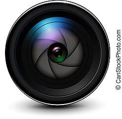 lentille, photo, volet, 3d, appareil photo