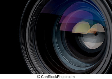 lentille, photographique, horizontal, appareil photo, closeup