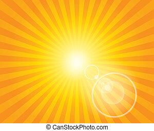 lentille, soleil, flare., modèle, sunburst