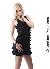 lentille, style, droit, cou, elle, jewellery., sur, touchers, main, cheveux, élégant, poser, regarde, blonds, fille noire, robe, blanc, elle