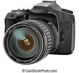 lentille, unique, appareil photo, réflexe