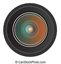 lentille, vecteur, appareil photo, photo