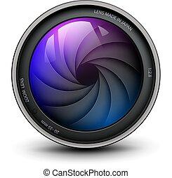 lentille, vecteur, intérieur, illustration., appareil photo, photo, volet