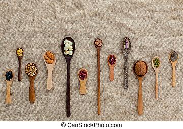 lentils, bruine kom, nootjes, zak, doek, bonen, gemengd,...