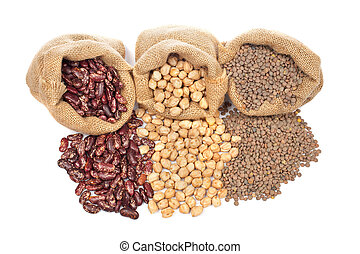 Lentils, chickpeas and red beans spilling out