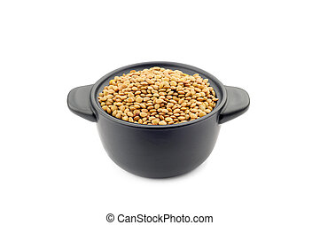 Lentils in a Black Cup