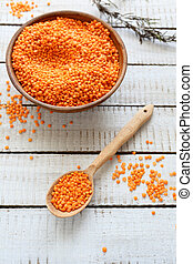 lentils in a bowl and spoon