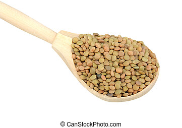 lentils in wooden spoon