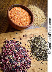 Lentils, red beans and brown rice
