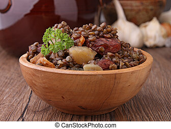 lentils with vegetable and sausage