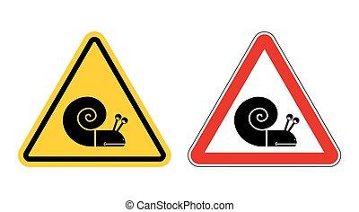 lento, attention., signo., amarillo, road., señales, slug., camino, conjunto, señal, insecto, advertencia, peligro, rojo, caracol, movimiento, mudanza, marisco, triángulo