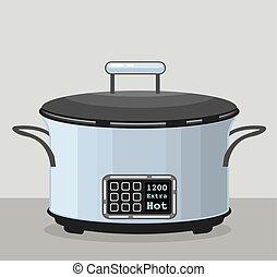 lento, cozinhar, crock, pote