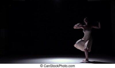 Lento, Dançar, começa, modernos, contemporâneo, movimento, dançarino, pretas, menina, Vestido, branca, sombra
