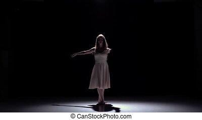 Lento, Dançar, modernos, contemporâneo, movimento, dançarino, pretas, menina, Vestido, branca, sombra