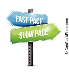 lento, digiuno, segno, passo, illustrazione, strada
