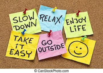 lento, relaxe, aquilo, tomar, fácil, baixo