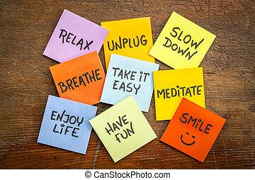 lento, relaxe, unplug, conceito, baixo, sorrizo