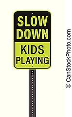 lento, segno, giù, bambini, gioco, strada