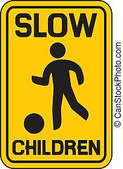 lento, tráfico, niños, señal