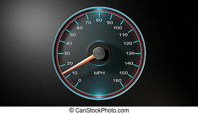 lento, velocímetro, mph