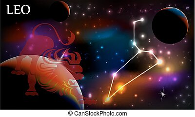 Leo Astrological Sign and copy space - Leo - Space Scene...
