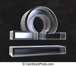 Leo astrology symbol in transparent glass (3d)