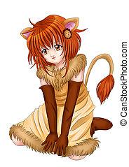 Leo - Manga style illustration of zodiac symbol, Leo