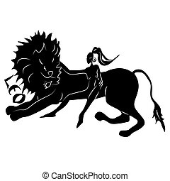 Leo - Elegant zodiac signs silhouettes isolated on white