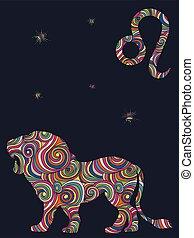 leo, formas, zodíaco, colorido, ondulado, señal
