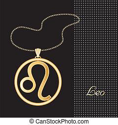 Leo Gold Necklace - Gold embossed horoscope symbol, necklace...