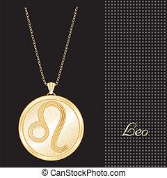 Leo Gold Pendant Necklace