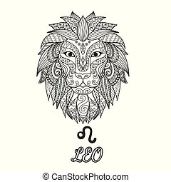 Leo - Zendoodle design of Leo zodiac sign for illustration...