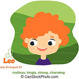 Leo. Kids zodiac. Children horoscope sign. Astrological symbols with cute baby face in cartoon style