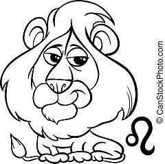 leo or the lion zodiac sign - Black and White Cartoon...