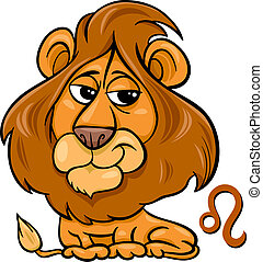leo or the lion zodiac sign - Cartoon Illustration of Leo or...