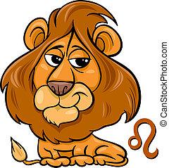leo or the lion zodiac sign - Cartoon Illustration of Leo or...