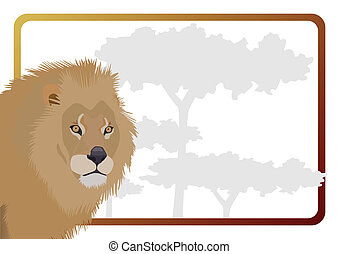 Leo - Part of the body of a lion on a background of trees....