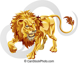 Leo the lion star sign - Illustration representing Leo the...