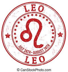 Leo zodiac grunge stamp - Leo zodiac astrology grunge stamp...