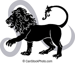 Illustration of Leo the lion zodiac horoscope astrology sign